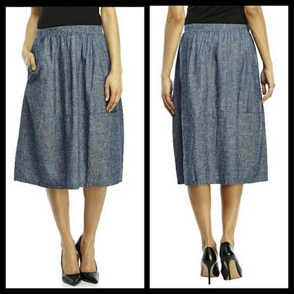 e51ce3d51cd Eileen Fisher Dresses   Skirts - Eileen Fisher chambray calf length skirt